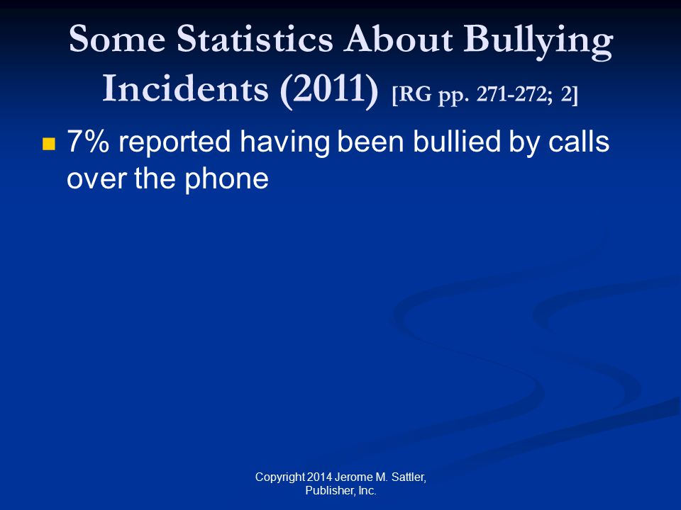 Other Cyberbullying Surveys In 2010 11% of children ages 10 to 17 years harassed online majority (69%) being female 1999–2000 6% of online users were harassed Over a 10-year period, online harassment increased by about 83% Copyright 2014 Jerome M.