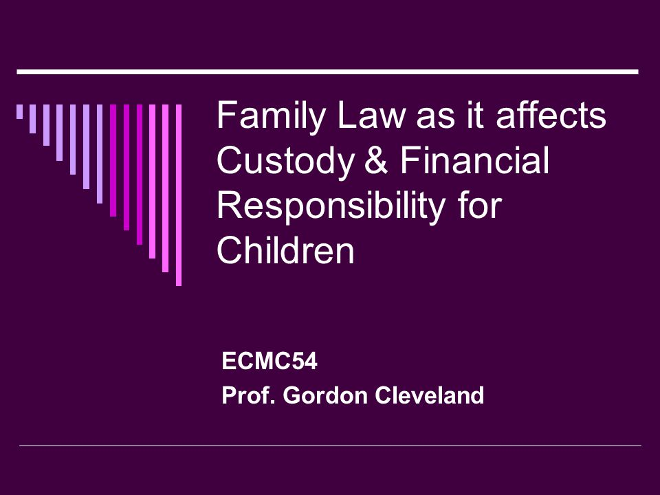 Family Law as it affects Custody & Financial Responsibility for Children  Affect on Family Decision-Making: Support Recipients (Spouse and Child)  Monthly lump-sum payment adds to unearned income  Affects hours of work versus hours of leisure decision  Affects spending decisions, i.e.