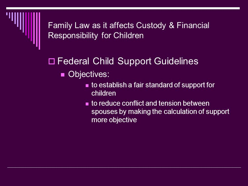 Family Law as it affects Custody & Financial Responsibility for Children  Federal Child Support Guidelines Objectives: to establish a fair standard of support for children to reduce conflict and tension between spouses by making the calculation of support more objective