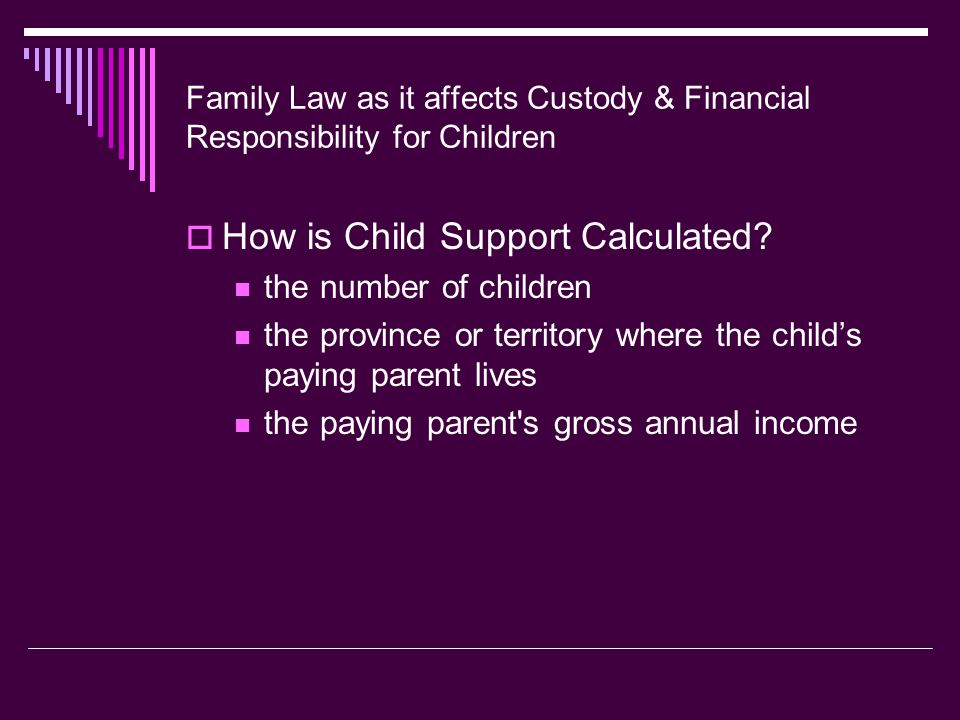 Family Law as it affects Custody & Financial Responsibility for Children