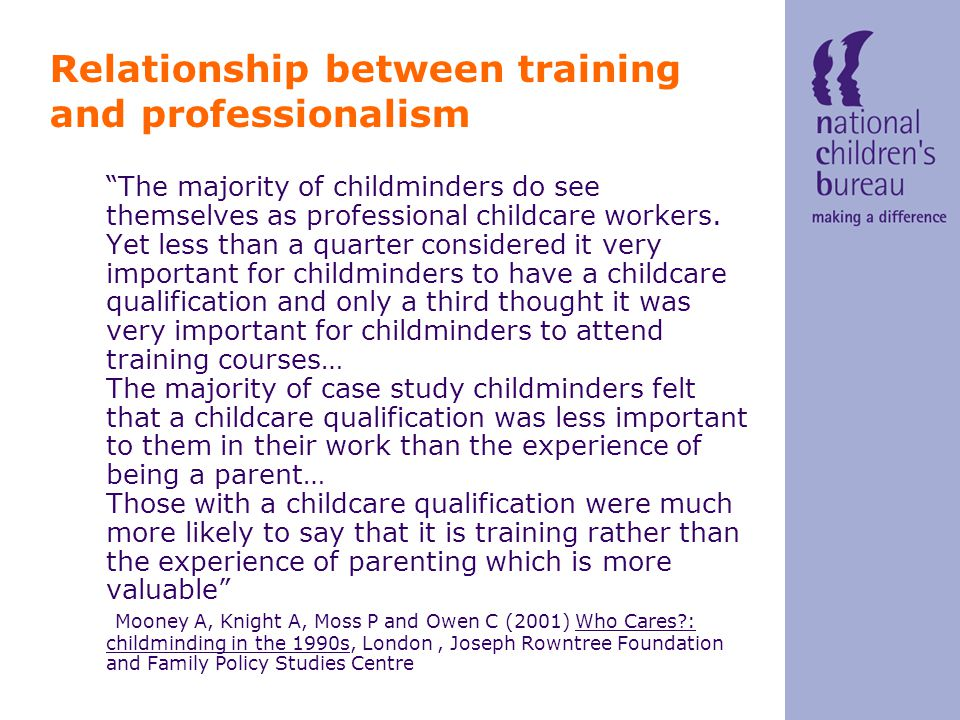 Quality assurance: There are around 400 quality assured childminding networks in England and Wales of which 383 are NCMA Children Come First quality assured networks This means there are over 10,000 NCMA quality assured network childminders Additionally, 3347 childminders are undertaking Quality First, NCMA's individual quality assurance scheme
