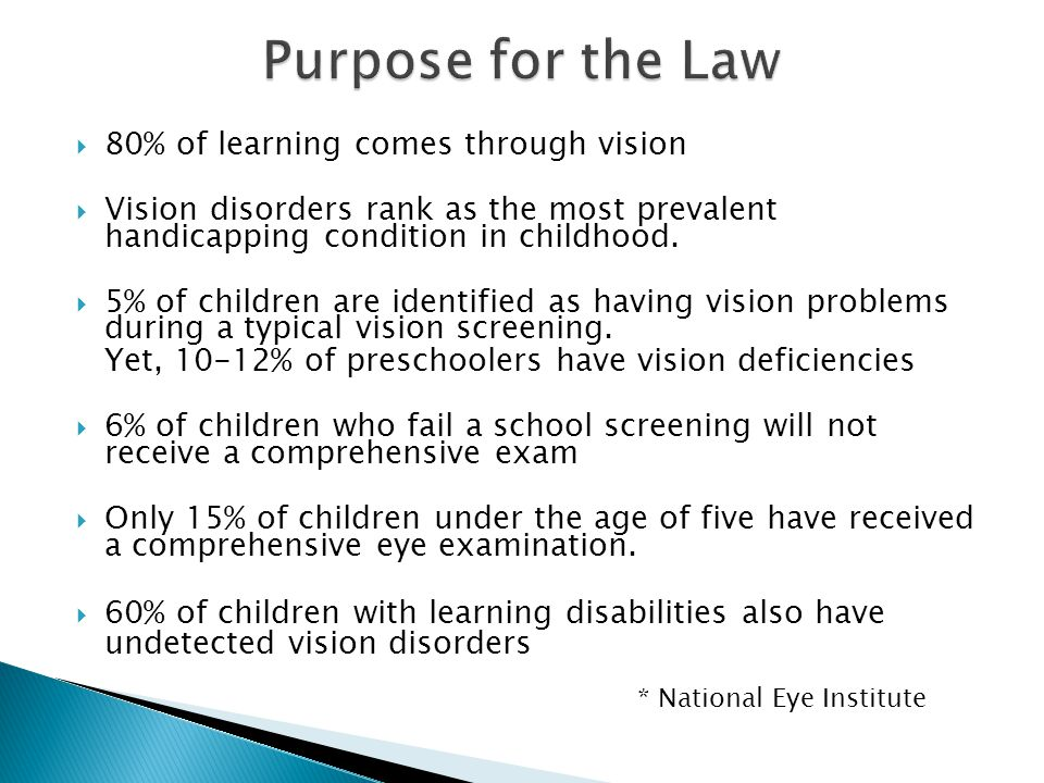  80% of learning comes through vision  Vision disorders rank as the most prevalent handicapping condition in childhood.  5% of children are identif