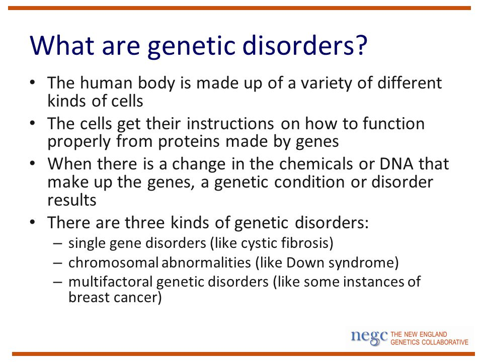 What are genetic disorders.