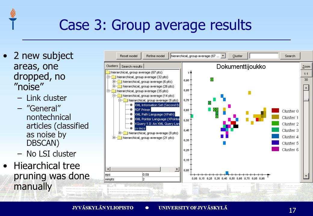 JYVÄSKYLÄN YLIOPISTO UNIVERSITY OF JYVÄSKYLÄ 17 Case 3: Group average results 2 new subject areas, one dropped, no noise –Link cluster – General nontechnical articles (classified as noise by DBSCAN) –No LSI cluster Hiearchical tree pruning was done manually