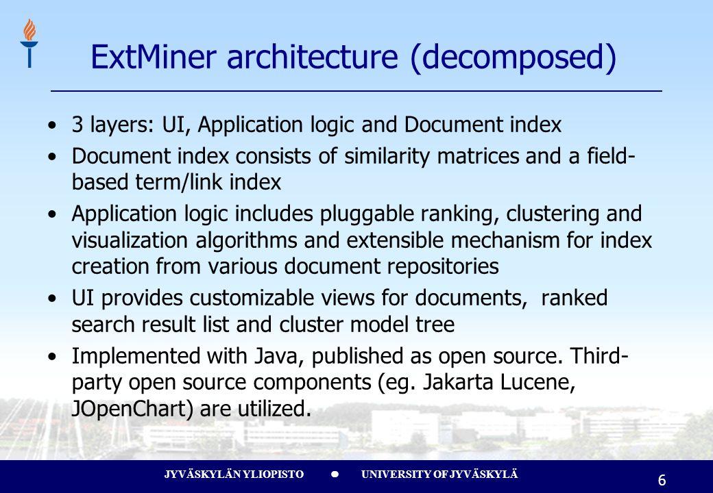 JYVÄSKYLÄN YLIOPISTO UNIVERSITY OF JYVÄSKYLÄ 6 3 layers: UI, Application logic and Document index Document index consists of similarity matrices and a