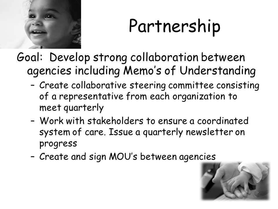 Partnership Goal: Develop strong collaboration between agencies including Memo's of Understanding –Create collaborative steering committee consisting of a representative from each organization to meet quarterly –Work with stakeholders to ensure a coordinated system of care.