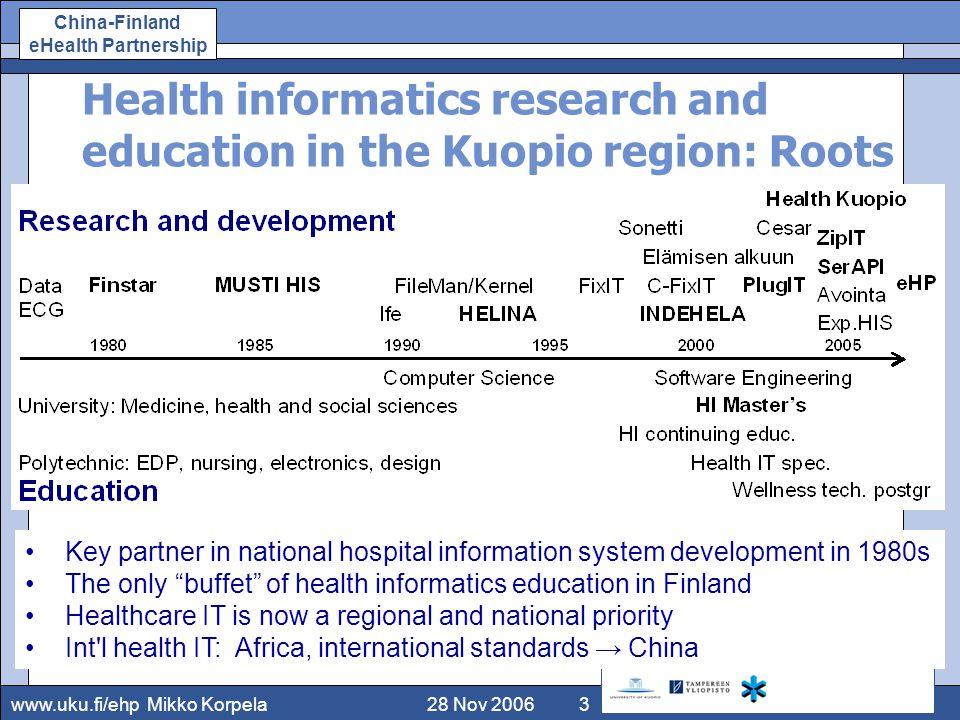 www.uku.fi/ehp China-Finland eHealth Partnership 12 June 2008Korpela14 China-Finland e-Health Partnership (2007/6–2008/12) ●Univ.