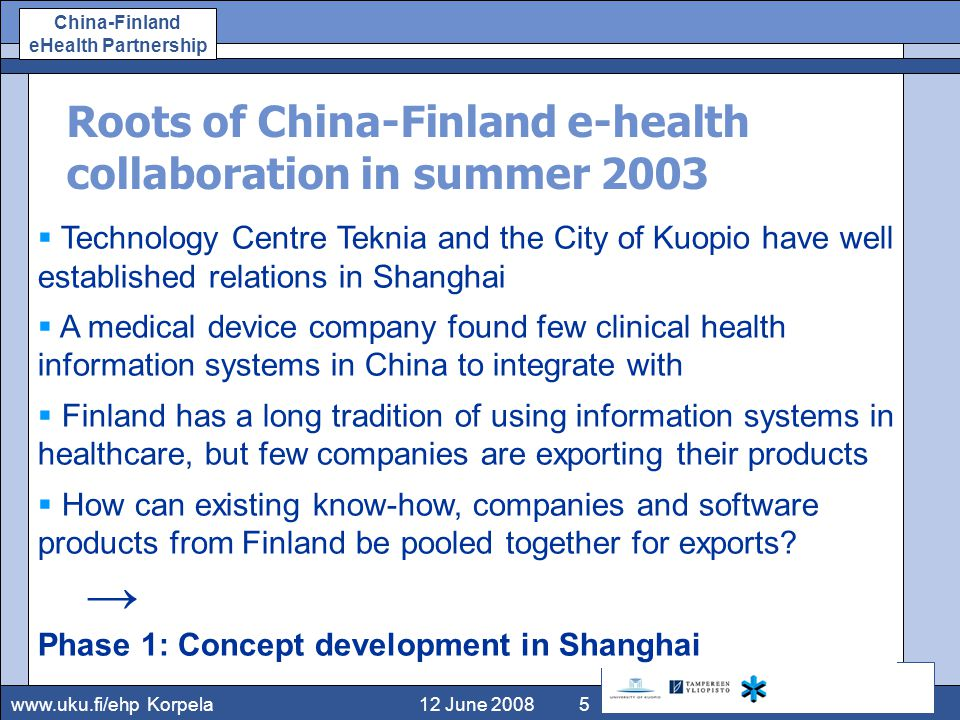 www.uku.fi/ehp China-Finland eHealth Partnership Roots of China-Finland e-health collaboration in summer 2003 12 June 2008Korpela5  Technology Centre Teknia and the City of Kuopio have well established relations in Shanghai  A medical device company found few clinical health information systems in China to integrate with  Finland has a long tradition of using information systems in healthcare, but few companies are exporting their products  How can existing know-how, companies and software products from Finland be pooled together for exports.