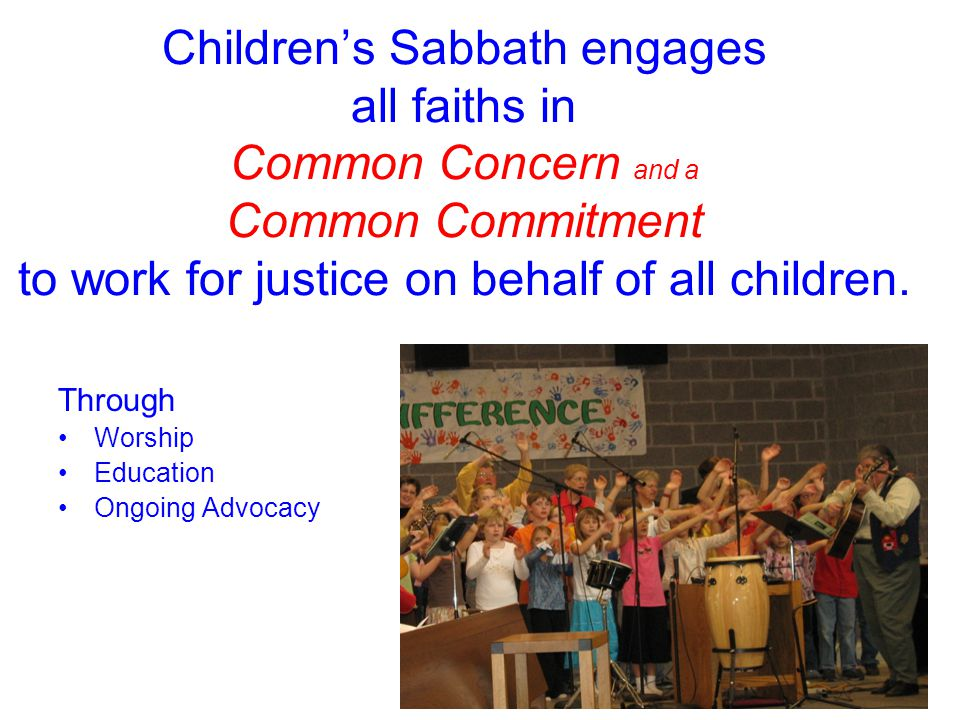 The Children's Sabbath Resource Manual Where are we & where are we going.