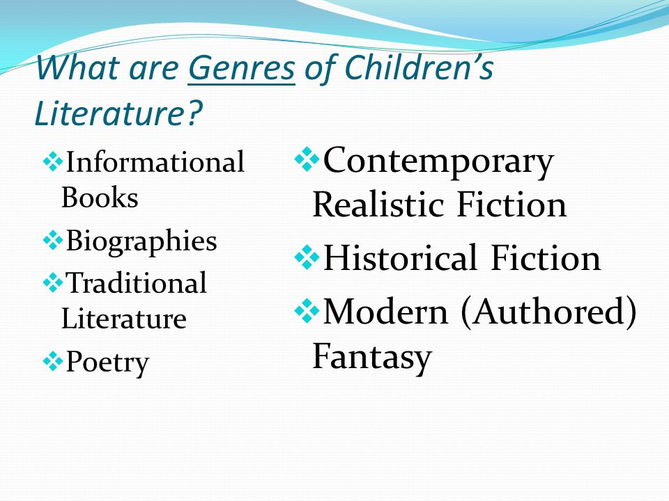 What are Genres of Children's Literature.