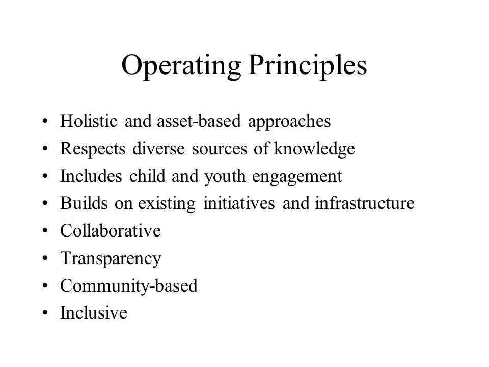 Operating Principles Holistic and asset-based approaches Respects diverse sources of knowledge Includes child and youth engagement Builds on existing initiatives and infrastructure Collaborative Transparency Community-based Inclusive