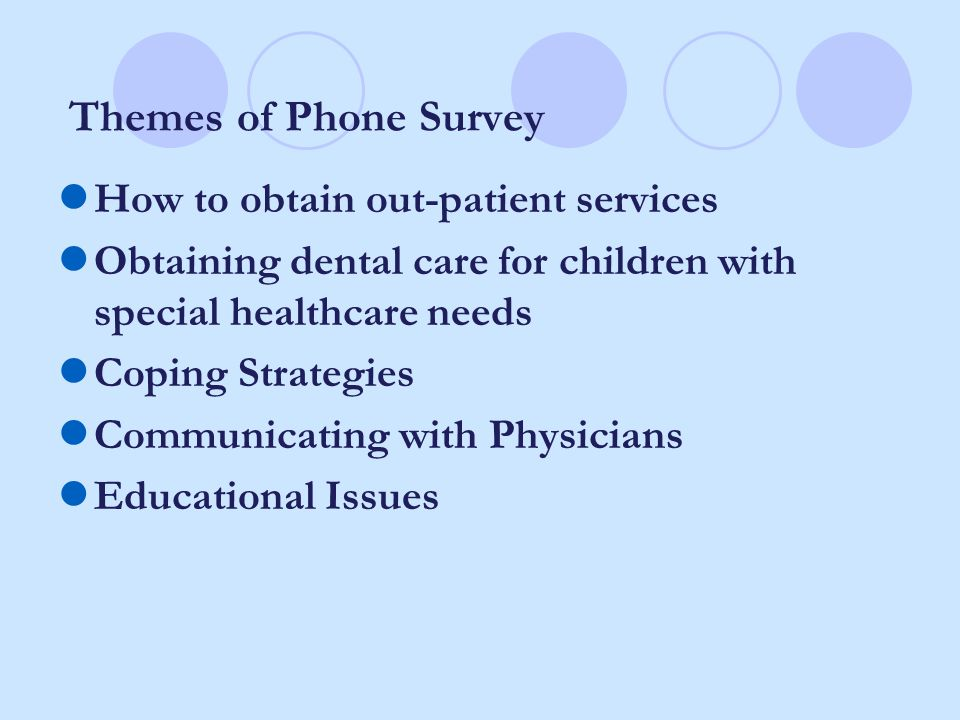 Themes of Phone Survey How to obtain out-patient services Obtaining dental care for children with special healthcare needs Coping Strategies Communica