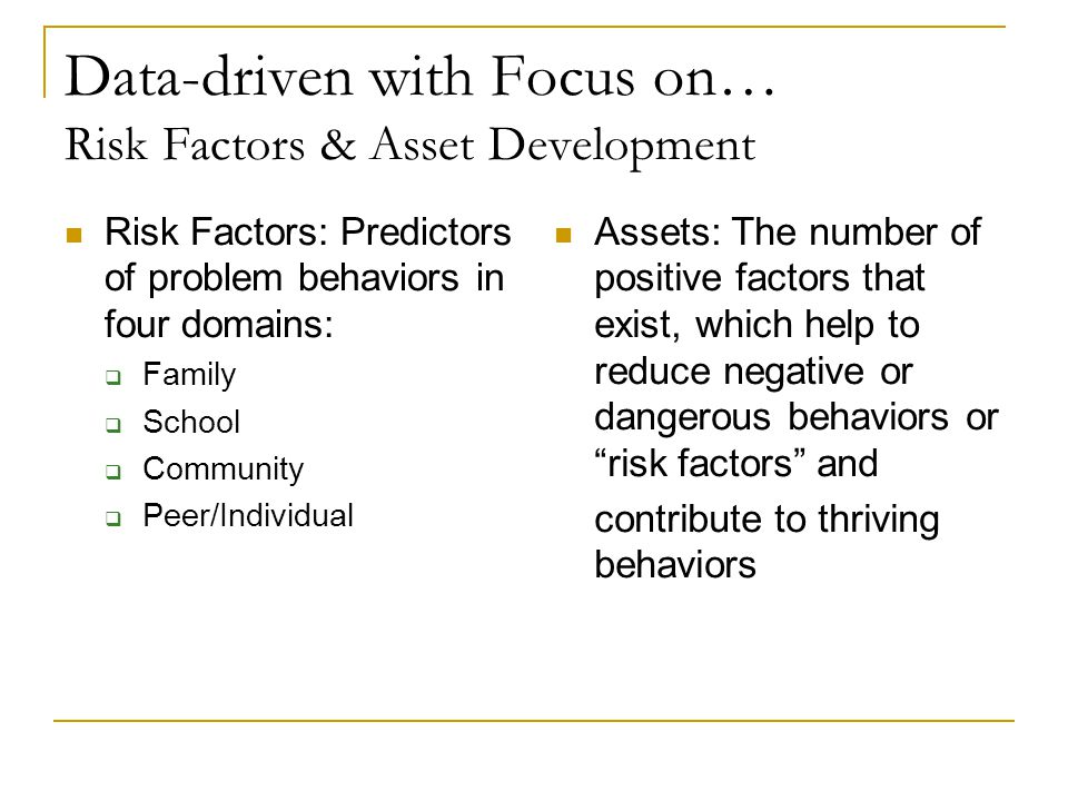 Data-driven with Focus on… Risk Factors & Asset Development Risk Factors: Predictors of problem behaviors in four domains:  Family  School  Community  Peer/Individual Assets: The number of positive factors that exist, which help to reduce negative or dangerous behaviors or risk factors and contribute to thriving behaviors