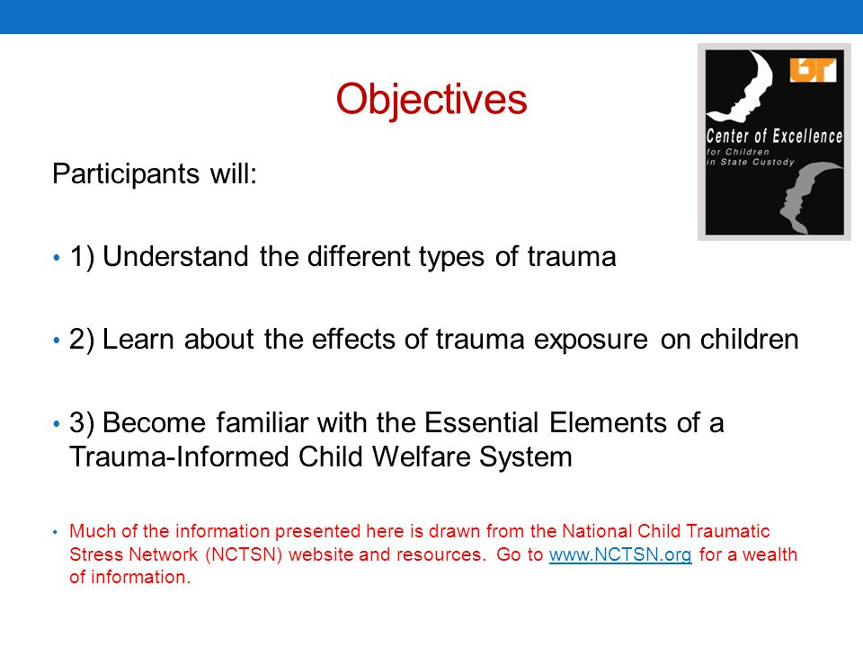 Trauma-Informed Child- and Family- Service Systems A trauma-informed child- and family-service system is one in which all parties involved: Recognize and respond to the impact of traumatic stress on those who have contact with the system including children, caregivers, and service providers; Infuse and sustain trauma awareness, knowledge, and skills into their organizational cultures, practices, and policies; Act in collaboration with all those who are involved with the child, using the best available science, to facilitate and support the recovery and resiliency of the child and family