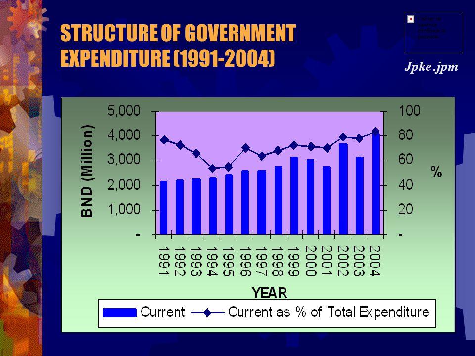 STRUCTURE OF GOVERNMENT REVENUE (1991-2004) Jpke.jpm OIL AND GAS NON-OIL AND GAS