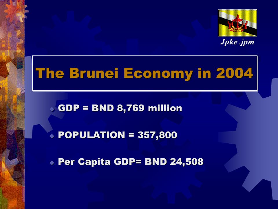 The Brunei Economy in 2004 The The Brunei Economy in 2004  GDP = BND 8,769 million  POPULATION = 357,800  Per Capita GDP= BND 24,508  GDP = BND 8,769 million  POPULATION = 357,800  Per Capita GDP= BND 24,508 Jpke.jpm