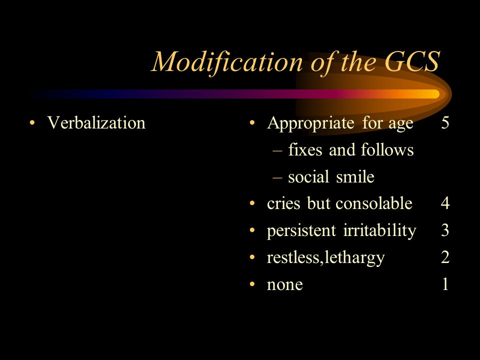 Eye opening: spontaneous 4 to sound 3 to pain 2 none 1 Modification of the GCS