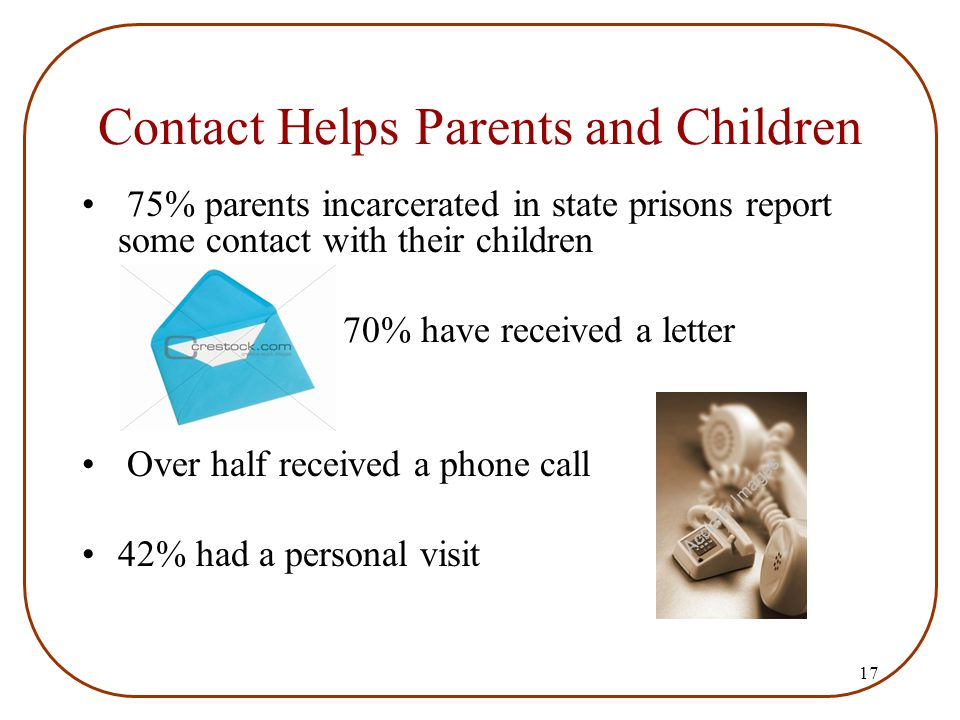 17 Contact Helps Parents and Children 75% parents incarcerated in state prisons report some contact with their children 70% have received a letter Ove