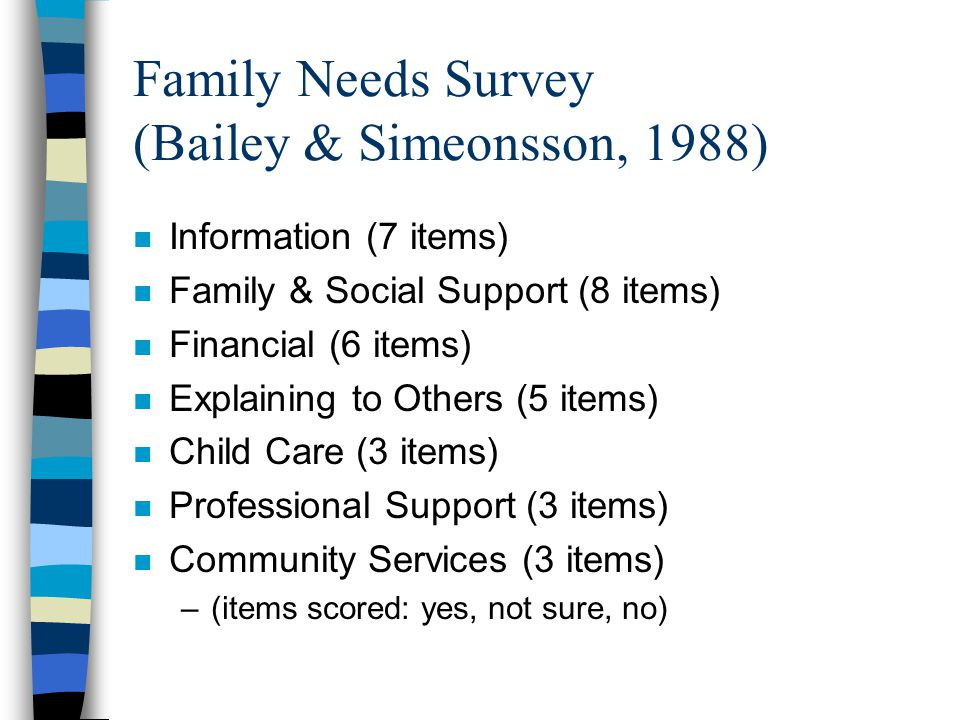 Family Needs Survey (Bailey & Simeonsson, 1988) n Information (7 items) n Family & Social Support (8 items) n Financial (6 items) n Explaining to Others (5 items) n Child Care (3 items) n Professional Support (3 items) n Community Services (3 items) –(items scored: yes, not sure, no)
