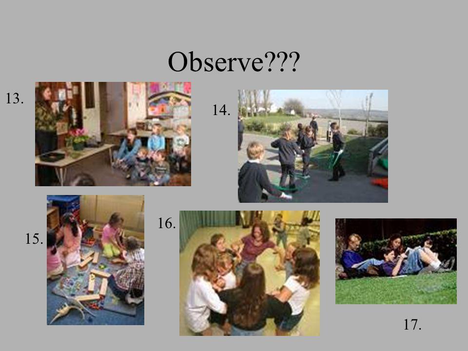 Observe 13. 14. 15. 16. 17.