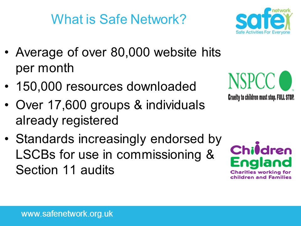www.safenetwork.org.uk What is Safe Network? Average of over 80,000 website hits per month 150,000 resources downloaded Over 17,600 groups & individua