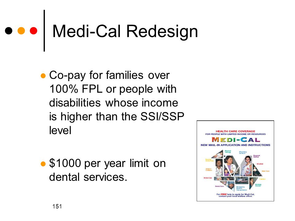 151 Medi-Cal Redesign Co-pay for families over 100% FPL or people with disabilities whose income is higher than the SSI/SSP level $1000 per year limit on dental services.