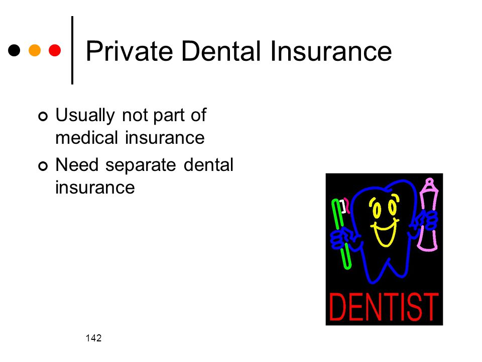 142 Private Dental Insurance Usually not part of medical insurance Need separate dental insurance