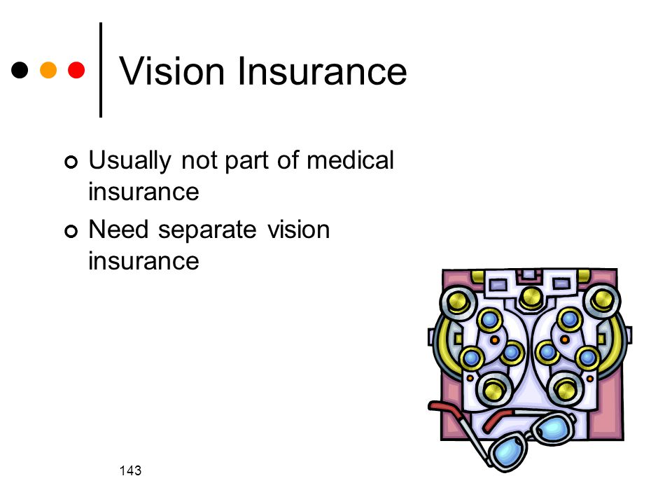 143 Vision Insurance Usually not part of medical insurance Need separate vision insurance