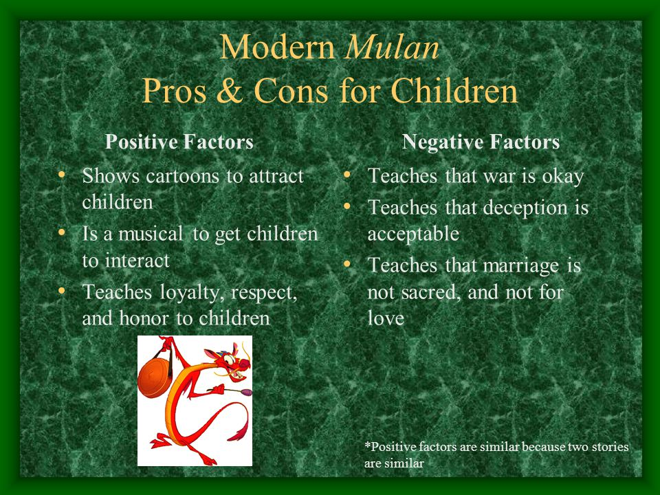 Modern Mulan Pros & Cons for Children Positive Factors Shows cartoons to attract children Is a musical to get children to interact Teaches loyalty, re