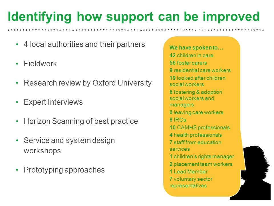 Identifying how support can be improved 4 local authorities and their partners Fieldwork Research review by Oxford University Expert Interviews Horizon Scanning of best practice Service and system design workshops Prototyping approaches 4 We have spoken to… 42 children in care 56 foster carers 9 residential care workers 19 looked after children social workers 6 fostering & adoption social workers and managers 6 leaving care workers 8 IROs 10 CAMHS professionals 4 health professionals 7 staff from education services 1 children's rights manager 2 placement team workers 1 Lead Member 7 voluntary sector representatives