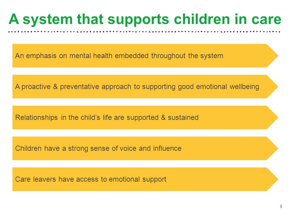 A system that supports children in care 8 An emphasis on mental health embedded throughout the system A proactive & preventative approach to supportin
