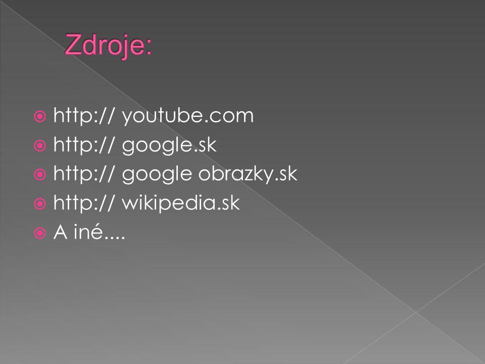  http:// youtube.com  http:// google.sk  http:// google obrazky.sk  http:// wikipedia.sk  A iné....