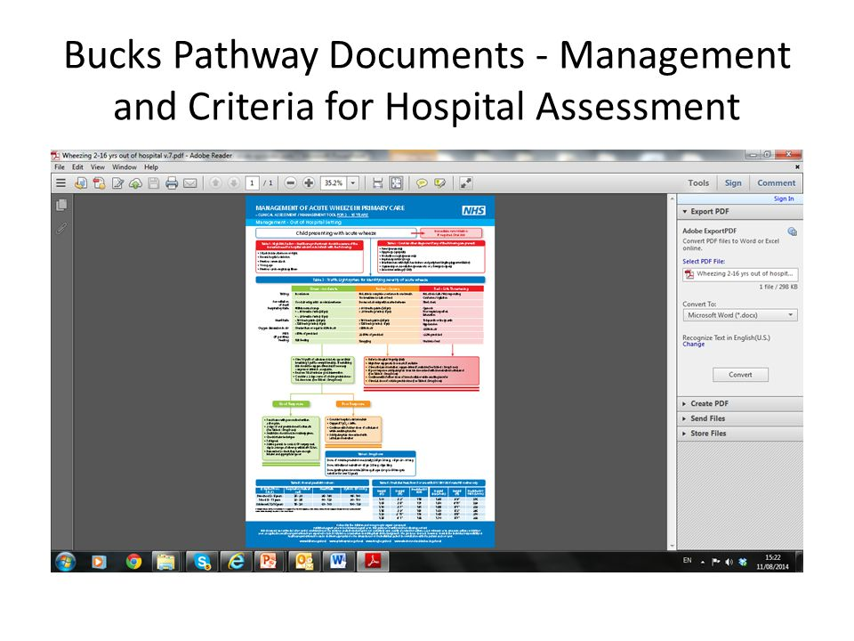 Bucks Pathway Documents - Management and Criteria for Hospital Assessment