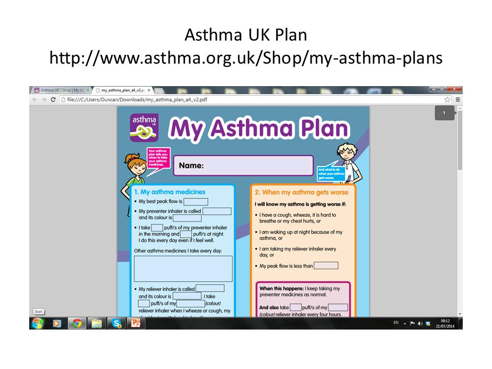 Asthma UK Plan http://www.asthma.org.uk/Shop/my-asthma-plans