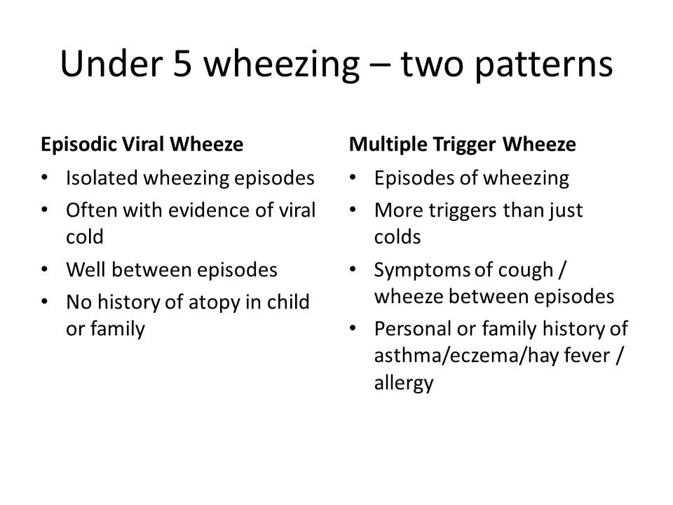 Under 5 wheezing – two patterns Episodic Viral Wheeze Isolated wheezing episodes Often with evidence of viral cold Well between episodes No history of atopy in child or family Multiple Trigger Wheeze Episodes of wheezing More triggers than just colds Symptoms of cough / wheeze between episodes Personal or family history of asthma/eczema/hay fever / allergy