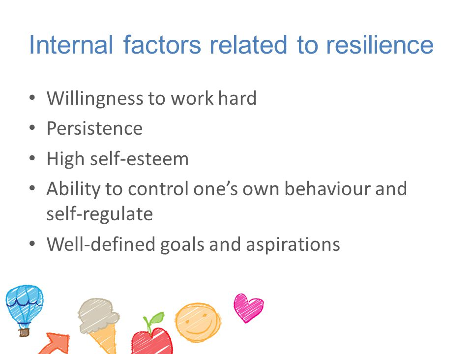Internal factors related to resilience Willingness to work hard Persistence High self-esteem Ability to control one's own behaviour and self-regulate Well-defined goals and aspirations