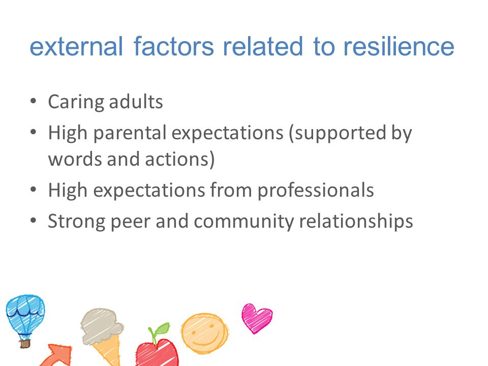 external factors related to resilience Caring adults High parental expectations (supported by words and actions) High expectations from professionals Strong peer and community relationships