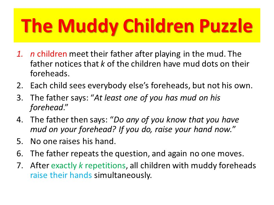 The Muddy Children Puzzle 1.n children meet their father after playing in the mud.