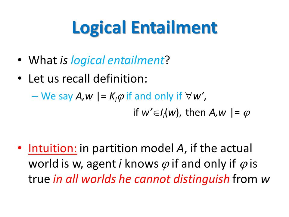 Logical Entailment What is logical entailment.