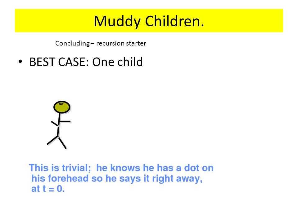 Muddy Children. BEST CASE: One child Concluding – recursion starter