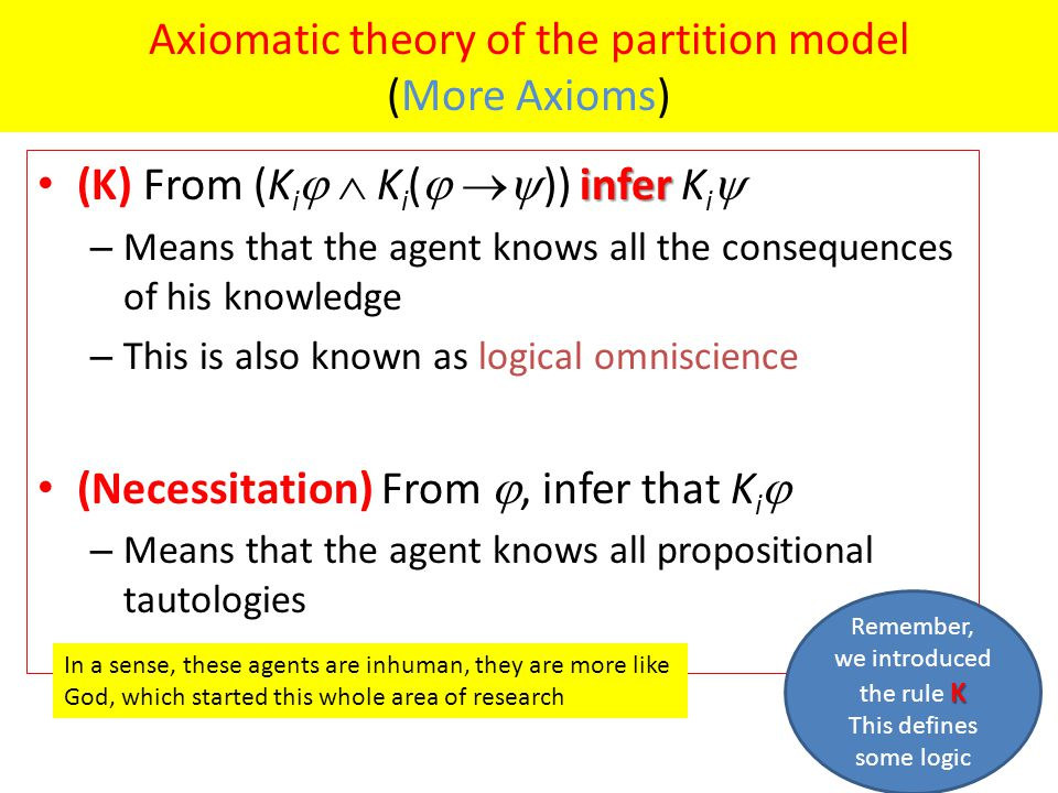 Axiomatic theory of the partition model (More Axioms) infer (K) From (K i   K i (   )) infer K i  – Means that the agent knows all the consequences of his knowledge – This is also known as logical omniscience (Necessitation) From , infer that K i  – Means that the agent knows all propositional tautologies In a sense, these agents are inhuman, they are more like God, which started this whole area of research K Remember, we introduced the rule K This defines some logic