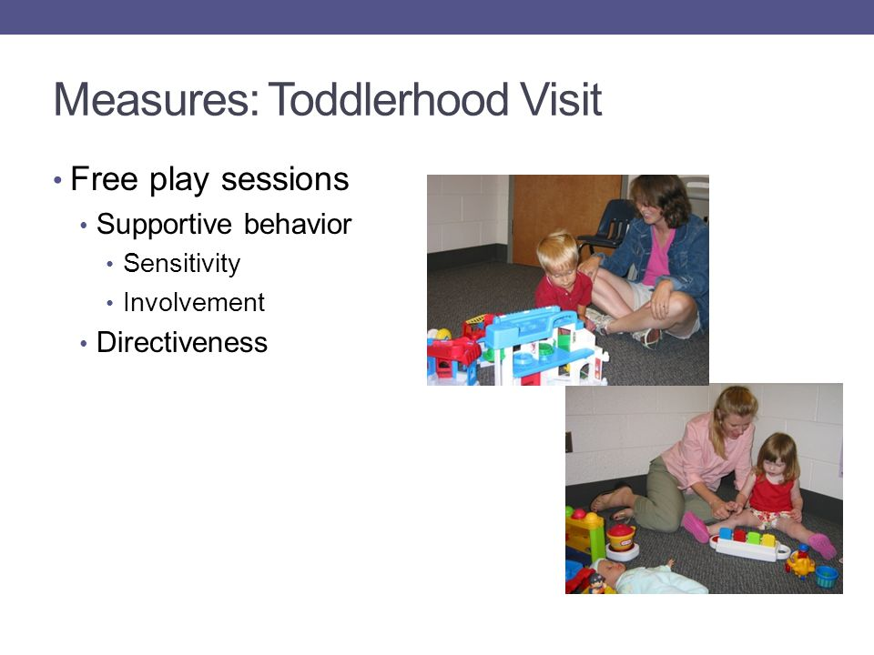 Measures: Toddlerhood Visit Free play sessions Supportive behavior Sensitivity Involvement Directiveness