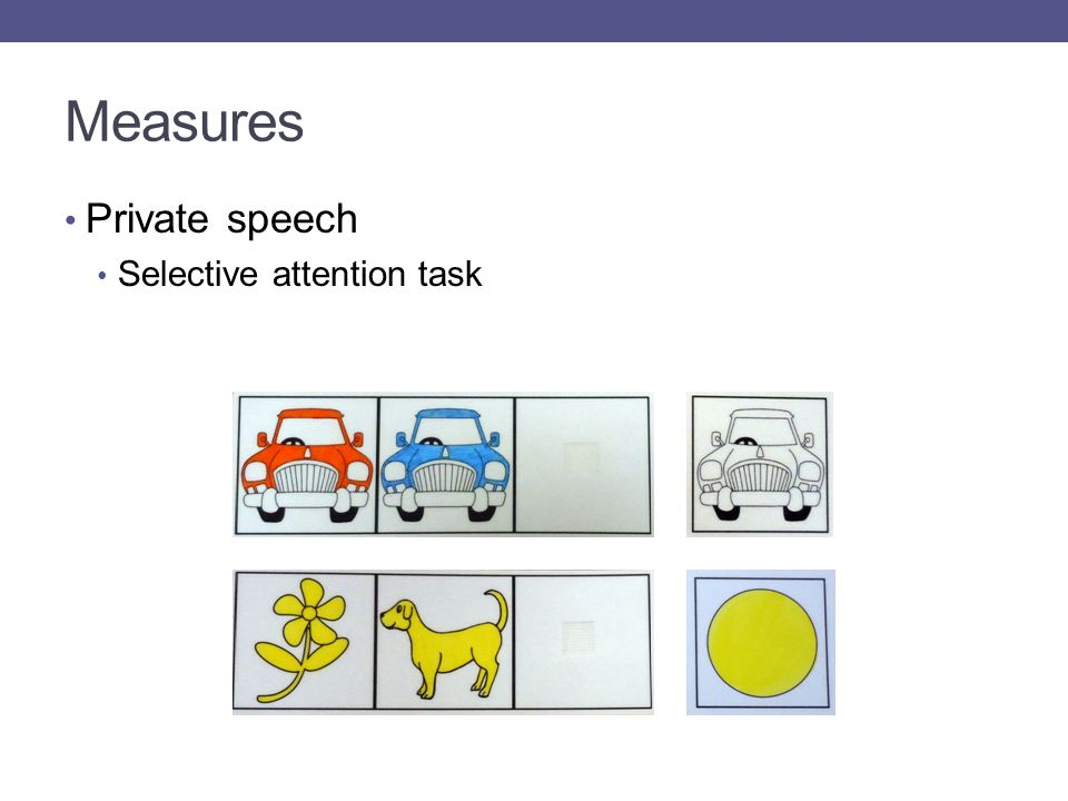 Measures Private speech Selective attention task