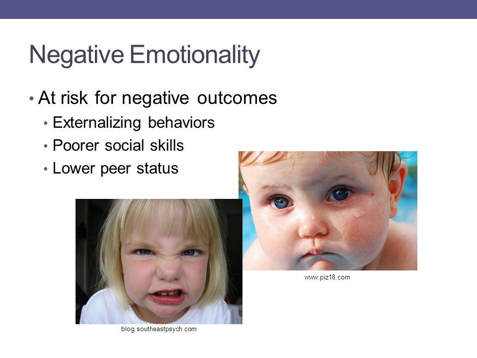 Negative Emotionality At risk for negative outcomes Externalizing behaviors Poorer social skills Lower peer status blog.southeastpsych.com www.piz18.com