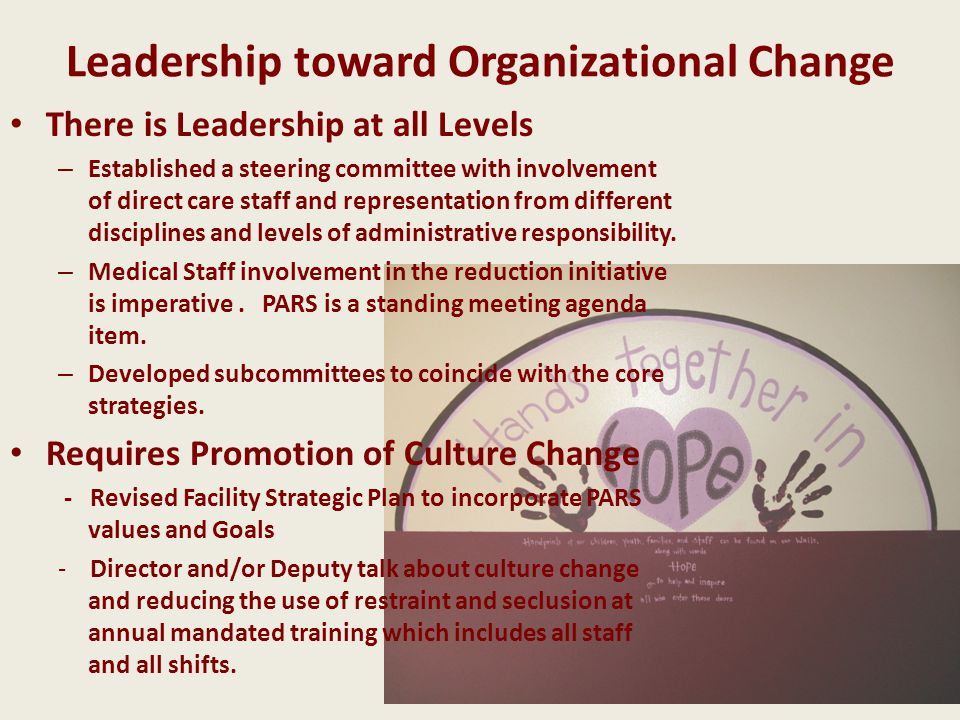 Leadership toward Organizational Change There is Leadership at all Levels – Established a steering committee with involvement of direct care staff and representation from different disciplines and levels of administrative responsibility.