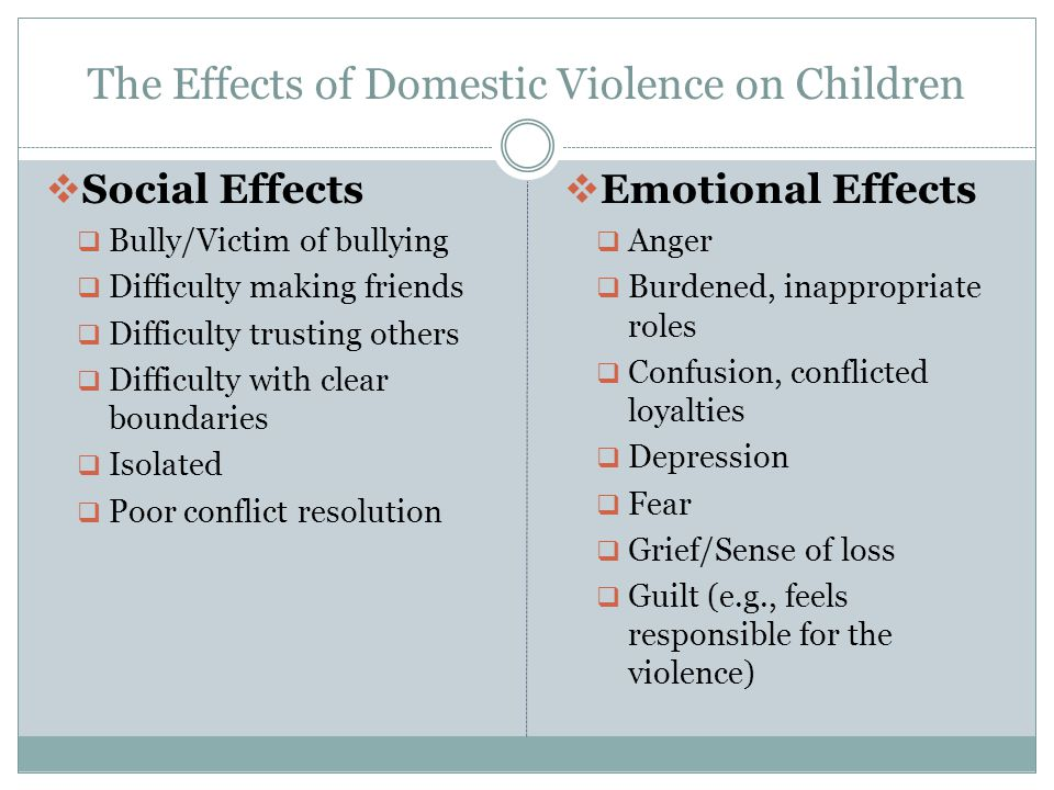 The Effects of Domestic Violence on Children  Social Effects  Bully/Victim of bullying  Difficulty making friends  Difficulty trusting others  Difficulty with clear boundaries  Isolated  Poor conflict resolution  Emotional Effects  Anger  Burdened, inappropriate roles  Confusion, conflicted loyalties  Depression  Fear  Grief/Sense of loss  Guilt (e.g., feels responsible for the violence)