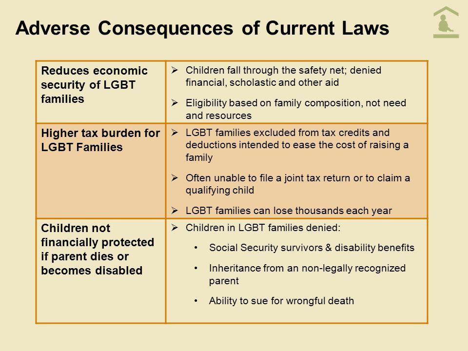 Adverse Consequences of Current Laws Reduces economic security of LGBT families  Children fall through the safety net; denied financial, scholastic a