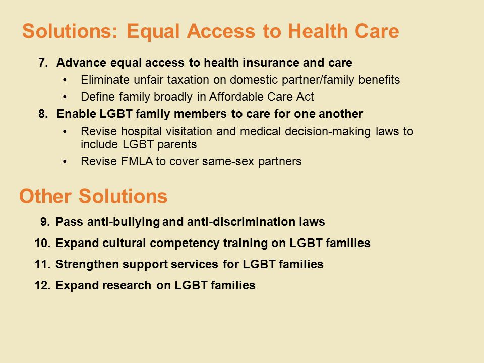 7.Advance equal access to health insurance and care Eliminate unfair taxation on domestic partner/family benefits Define family broadly in Affordable Care Act 8.Enable LGBT family members to care for one another Revise hospital visitation and medical decision-making laws to include LGBT parents Revise FMLA to cover same-sex partners Solutions: Equal Access to Health Care Other Solutions 9.Pass anti-bullying and anti-discrimination laws 10.Expand cultural competency training on LGBT families 11.Strengthen support services for LGBT families 12.Expand research on LGBT families