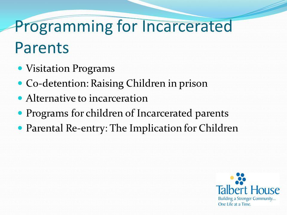 Programming for Incarcerated Parents Visitation Programs Co-detention: Raising Children in prison Alternative to incarceration Programs for children of Incarcerated parents Parental Re-entry: The Implication for Children