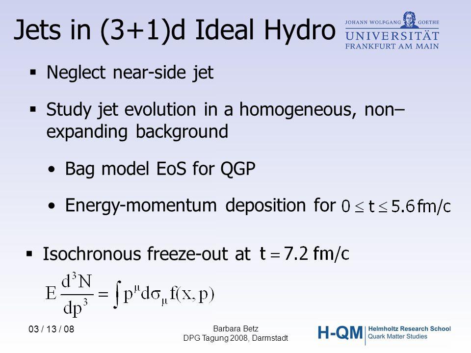 03 / 13 / 08 Barbara Betz DPG Tagung 2008, Darmstadt Energy-momentum deposition for Bag model EoS for QGP  Neglect near-side jet  Study jet evolutio